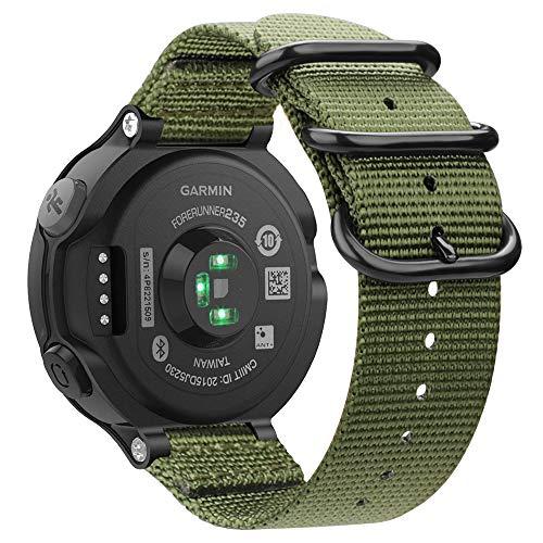 Fintie Armband für Garmin Forerunner 235/220 / 230/620 / 630 / 735XT Smart Watch - Nylon Uhrenarmband Sport Armband verstellbares Ersatzband mit Edelstahlschnallen (Olive)