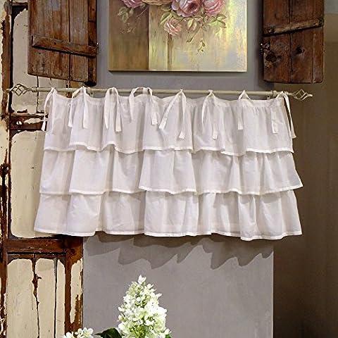 Vorhang Gardine Scheibengardine Bistrogardine mit drei Rüschen Landhaus Shabby Chic - Rüsche Volant - 130x60 - Off White - 100%