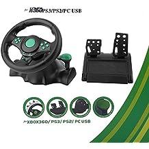 180 Grad Drehung ABS Gaming Vibration Racing Lenkrad mit Pedalen