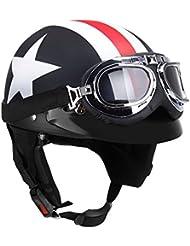 KKmoon Halb offener Motorradhelm mit Brille Visor Schal Biker Roller Helm für Touring