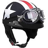 KKmoon Demi Casque Moto avec Lunette Visière Foulard Motard Scooter Tournée pour Harley