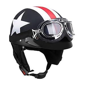 KKmoon metà Aperto Faccia Casco del Motociclo con Occhialoni Moto di Protezione Visiera Sciarpa del Motociclista Motorino Touring del Casco per Harley