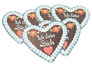 Daum - Pimp Up Your Life 798/1022-Juego de 6Alemán Corazones en diseño de Jengibre Ich Liebe Dich, 19cm, Color Azul