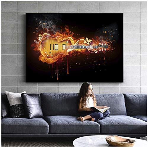 Lienzo decorativo para pared con diseño de guitarra eléctrica, 60 x 90...