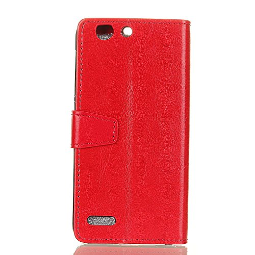 Crystal Grain Texture PU Leder Brieftasche Case, Solid Color Flip Stand Case Cover mit Card Slots & Kickstand für Vodafone Smart E8 ( Color : Rose ) Red