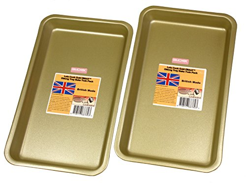 Tray Bakes, Baking / Oven Trays, Twin Pack, British Made with Gold GlideX Non Stick by Lets Cook Cookware