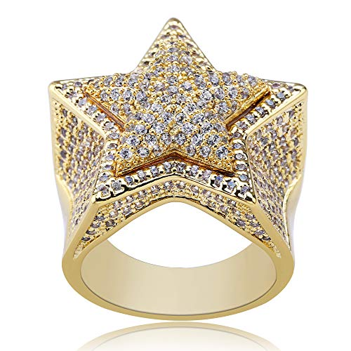 Gold/Silber Überzogene Bling Iced Out CZ Ring Simuliert Diamant Ewigkeit Hochzeit Engagement Punky Band Ringe Hip Hop Schmuck für Männer (Band Ring Square)