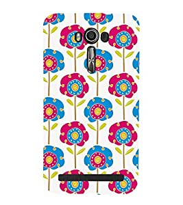 ANIMATED DUAL COLOURS FLOWERS PATTERN 3D Hard Polycarbonate Designer Back Case Cover for Asus Zenfone 2 Laser ZE550KL :: Asus Zenfone 2 Laser ZE550KL (5.5 Inches)