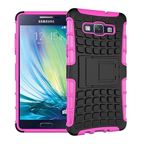 Custodia Cover per Samsung Galaxy A5 (2015 Version , 5 pollice) - Ycloud Hard PC+ TPU flessibile Custodia Disegno del modello di pneumatico Cover per Samsung Galaxy A5 2015 - Rosa rossa