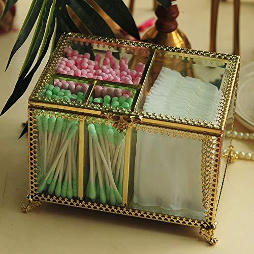 Hersoo Antik-Dekorative Box mit 4 Fächern für Watteball/Pad/Wattestäbchen/Q Tips/Make-up-Schwämme/Schminktischaufsatz, Vitrine für Dessert/Schmuck, Lippenstift, Parfüm, Badezimmer-Organizer Antike Dessert