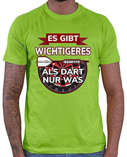 HARIZ Herren T-Shirt Es Gibt Wichtigeres Als Dart Nur was Dart Darten Dartpfeile WM Plus Geschenkkarte Hell Grün XL