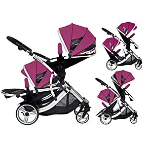 Duellette 21 BS Double Twin Pushchair with 2 footmuffs and Free Changing Bag. Complete with 2 seat units, & 2 rain covers. Dooglebug raspberry. compatible with kids kargo safety pod 0+ car seat Ydq TRAVEL ANYWHERE - Airplane travel stroller designed for airplane overhead compartment. It's super compact when folded. With extendable pull rod, it could be dragged anywhere you go with no effort instead of lifting it with your hand. COMFORTABLE SEAT - Lightweight pushchair with reclining backrest enables your baby to rest better in the well-padded seat. The pads on the headrest will help keep your baby's head in position even if it's asleep. The angle of legs support could also be adjusted, providing the most joyful ride for your baby. EASY USAGE - One-hand foldable buggy makes taking your baby for travels or walks a simple pleasure. It could stand on its own so you could take care of your baby with less things to worry about. 6