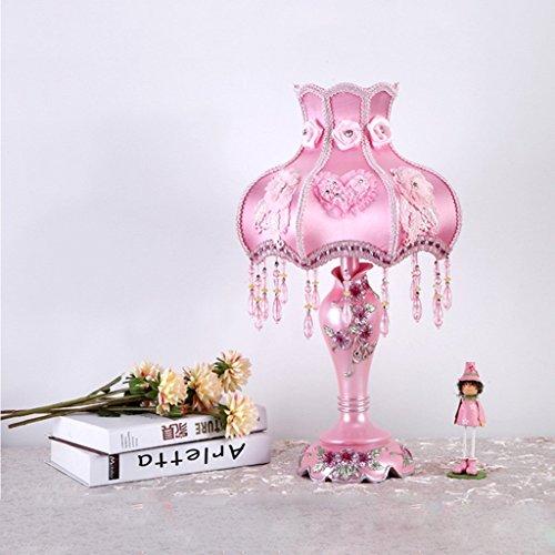 ILQ Style Européen Table Lampe Chambre Chevet Lampe Creative Simple Rétro Petite Fille Chambre Résine Lampe De Table, 31 * 31 * 50 cm, Interrupteur À Bouton,Jaune Clair