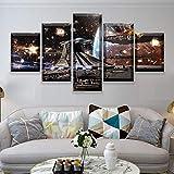 Gyybfhn Stampe E Quadri su Tela 5 Pezzi Tela Wall Art 150X80Cm Guerre Stellari Murale Quadri Moderni Soggiorno XXL Casa Corridoio Decor Regalo Creativo