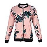 Shujin Damen Herbst Elegant Camouflage Jacken mit Blumen Printed Bomberjacke Straße Pilotenjacke Übergangsjacke mit Reißverschluss Outwear Fliegenjacke Kurz (M, Rosa)