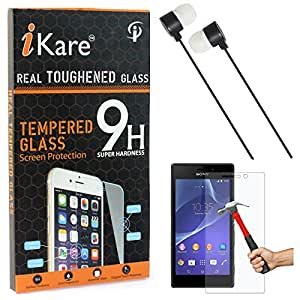 iKare Tempered Glass for Sony Xperia E1, Tempered Screen Protector for Sony Xperia E1 + Black Stereo Earphone with Mic