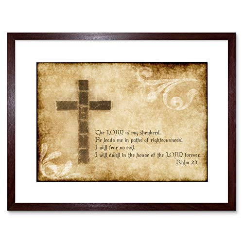 PSALM 23 LORD SHEPHERD CROSS CHRISTIAN RELIGIOUS QUOTE ART PRINT B12X13828 (Christian Cross Art)
