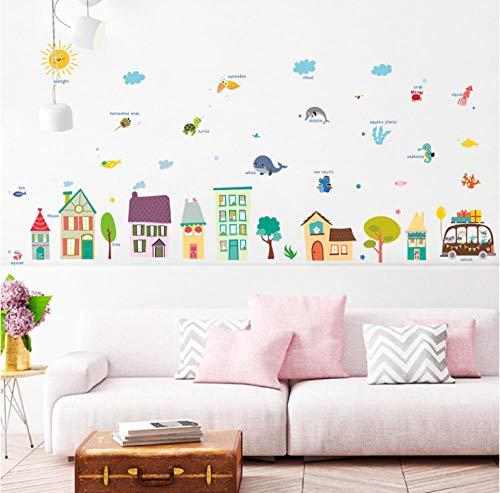 Lyiting Tiere Haus Dekorative Wandaufkleber Kindergarten Kinderzimmer Cartoon Dekoration Pvc Wandbild Diy Kunst Aufkleber Aufkleber Auf Dem Schrank (30X90 Cm)