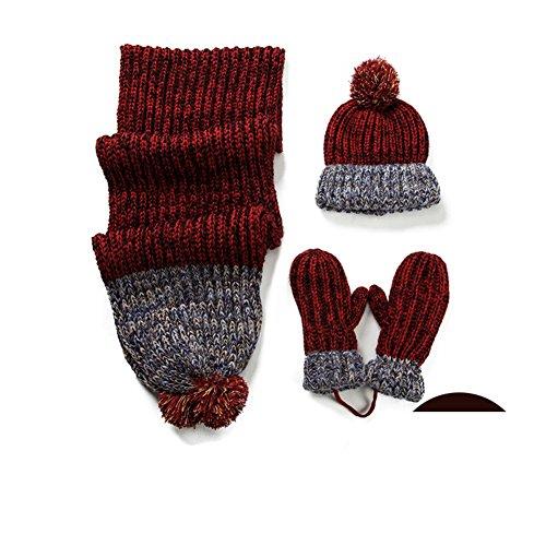 Bonnet écharpe gants ensemble de trois/Durant l'hiver et le Cachemire chaud de laine tricoter costumes C