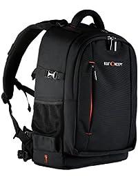 K&F Concept - [Multi-capa] Multifuncional Mochila para Cámara Réflex y Accesorios, Bolsa Mochila Fotográfica para Canon Nikon Sony, color negro