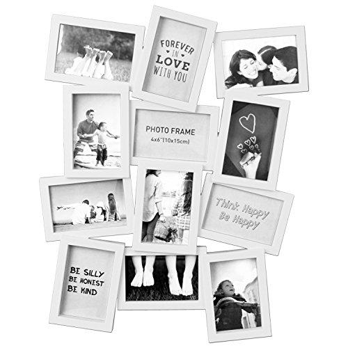 *Multistore 2002 Fotogalerie 49x62x2cm für 12 Fotos im Format 10x15cm Bilderrahmen Fotorahmen Bildergalerie in 2 Farben, Farbe:Weiß*