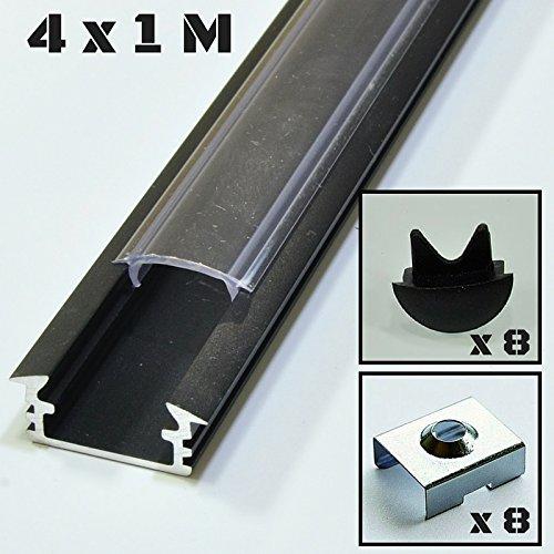 Lote de 4 x 1 metro perfil de aluminio P1 negro para tiras LED con cubierta transparente, tapas y grapas de montaje incluidas