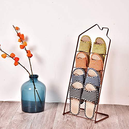 YUN-X Bügeln Sie kreatives Hausschuhgestell, einfaches Wohnzimmer Badezimmer Badezimmerboden kleines Schuhregal, Hausschuhgestell (Farbe : Bronze) -