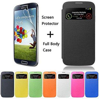 CASE FOR SAMSUNG Handy schützen, Bunte Note Fenster Ganzkörper-Fall mit 1pc Displayschutzfolie für Samsung i9500 S4 (Verschiedene Farben) für Samsung (Farbe : Gelb, Kompatible Modellen : Galaxy S4)