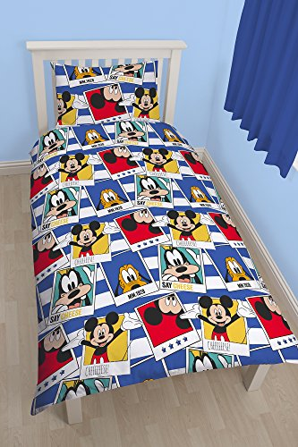 "Image of Character World 91 cm Single Disney ""Mickey Mouse Polaroid"" Rotary Duvet Set, Multi-Colour"