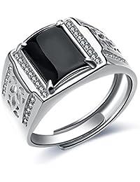 601a2a63d31d JiangXin Lujoso Anillos ajustable Hombre plata de ley 925 Ágata negra  Compromiso Sólido San valentin Amor