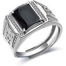 14f689584905 JiangXin Lujoso Anillos ajustable Hombre plata de ley 925 Ágata negra  Compromiso Sólido San valentin Amor
