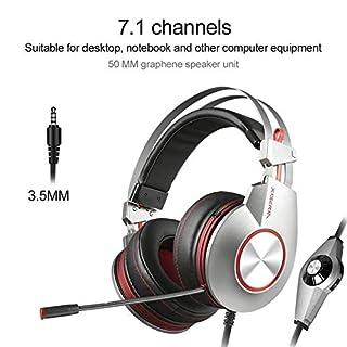 Jinclonder K5 Stereo-Kopfhörer für PS4, PC, Xbox One, Kopfhörer mit Geräuschunterdrückung, mit Mikrofon, Basskontur, Ohrenschützer, für Laptop, Mac, Schalterspiele C