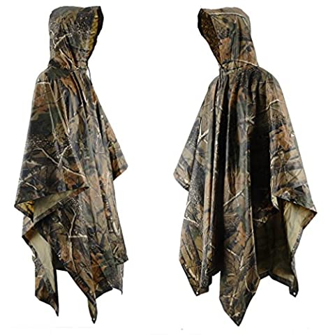 Multi-purpose Military Camouflage Portable Rain Poncho, Universal Waterproof Raincoat with