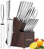 Emojoy Bloc de Couteaux, Set Couteaux Cuisine Professionnel 16 pièces, Couteau Acier Inoxydable Allemand, Couteau de Cuisines Miroir avec Support en Bois, Couteaux Manche Métal