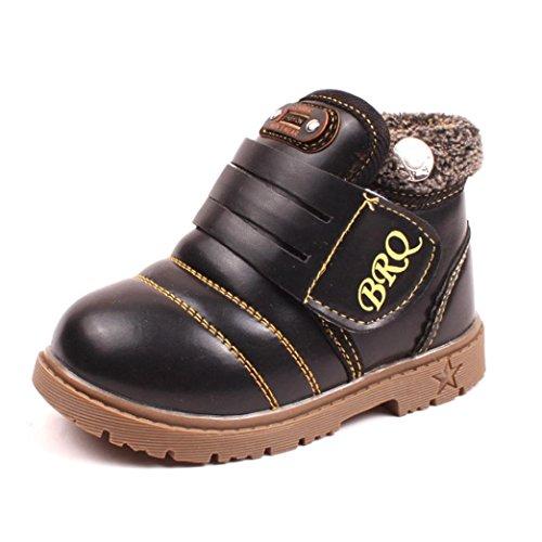 Hunpta Inverno Criança Bebê Meninos Meninas Crianças Neve Espessa Sapatos Botas De Couro (idade: 1-2 Anos, Marrom) Preto