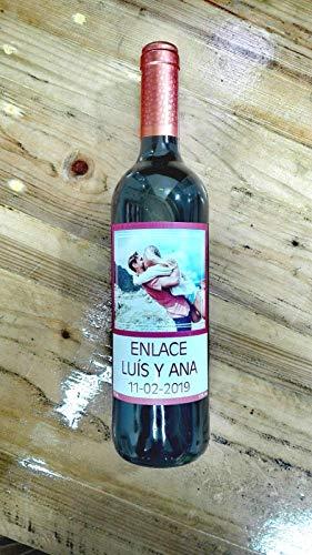 Botella vino personalizada enlace regalo para boda granate