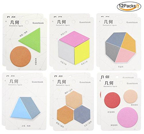 hossty, 12Stück Geometrie N Sticky Notes Pad Memo Farben Aufkleber Notizen Index Tag für Büro Schule