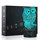 Best Easy Smart Touch Gift For A Boyfriends - Owl 3D Night Light Touch Table Desk Lamp Review