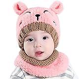 Internet garçons filles bébé Cagoule en laine chaude écharpe Casquettes Chapeaux Automne-hiver (Rose #1)