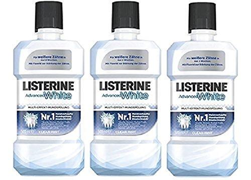 LISTERINE Advanced White - LISTERINE Mundspülung mit Whitening-Effekt - Für gesunde Zähne - 3er Pack (3 x 500 ml) (Listerine Atem Spray)