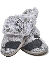 7e4e735140e Lazy Dogz Missy Herringbone Ladies Mule Slippers Grey