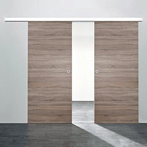 Schiebetür Holz-Schiebetür 2 flügelig 1760x2035mm Zimmertür Wildeiche Innentür Komplettset mit Lauschiene + 2 Holztüren