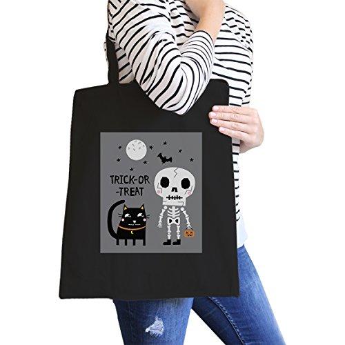 365 Printing inc, Borsa tote donna Happy Hallowine Ghost Wine - Black Misura unica Trick-Or-Treat Skeleton Black Cat -Black