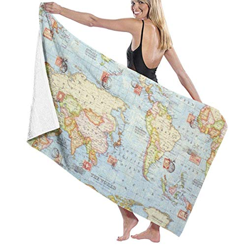 fgregtrg Beach Towels Decor Super Soft Oversized Extra Large Bath Towels 32x52 inch 100% Polyester Fiber Atlas World Map Blue Travel Soft, High Absorbent, Eco-Friendly Printed Bath Towel,Quick Dry 31