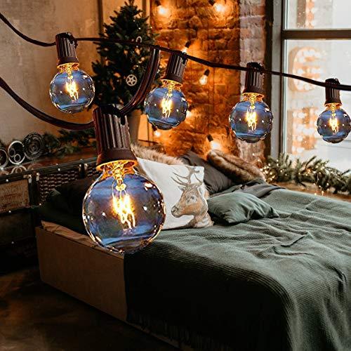 Lichterkette Glühbirnen Außen, Lichterkette Außen, MMTX G40 25FT Lichterkette Garten Outdoor, Wasserdicht (25 Birnen,2 Ersatzbirnen) für Weihnachten, Hochzeit, Party, Innenhöfe Dekoration