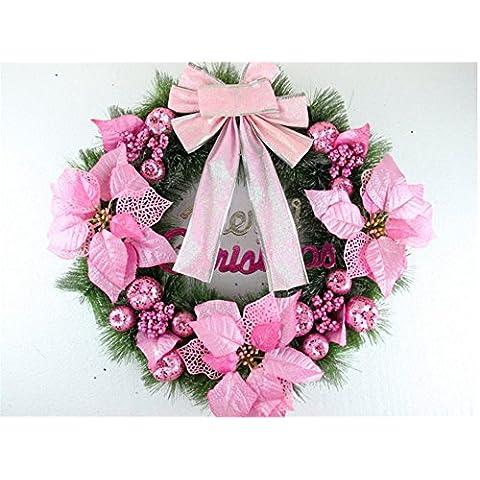 Decoración de Navidad Navidad Navidad Artificial?agujas de pino ratán adornos anillo rosa ?50cm