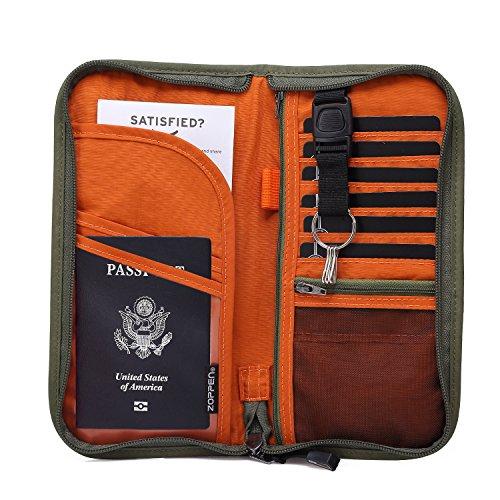 Zoppen RFID cartera de viaje y organizador de documentos funda con cremallera, familia pasaportes soporte con extraíble correa de muñeca correa Verde Ejercito Verde