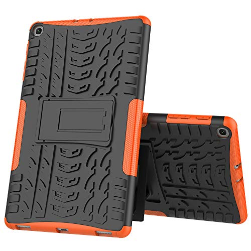 Boleyi Hülle für Samsung Galaxy Tab A 10.1 2019, [Slim Hard Case von] [Heavy Duty] [PC + TPU Stoßfest Schutzhülle] Rugged Tough Dual Layer Armor Schutzhülle -Orange Orange Hard Case