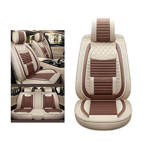 YE Sitzbezügesets Autositzbezug Leinen 5 Sitze Allzweck Kompatibel mit Airbag und Split Rear Seat Fit Meisten Auto, LKW, SUV, Oder Van (Farbe : Light Coffee Color, Größe : Standard)