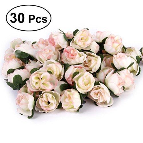 den Rosen Blume Köpfe für DIY Handwerk Hochzeitsdekoration 3cm (Weiß) ()